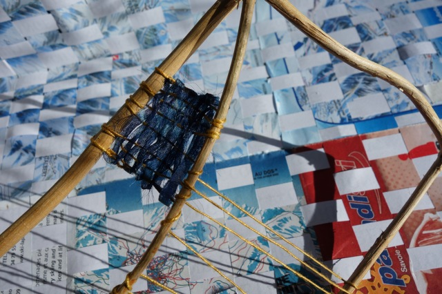 If you are in Winchester, come and add to the weaving at the Theatre Royal in Jewry Street. Image shows weavings by Ann Louise Smith (maps and paper) and Consuelo Simpson (Honeysuckle and yarns)